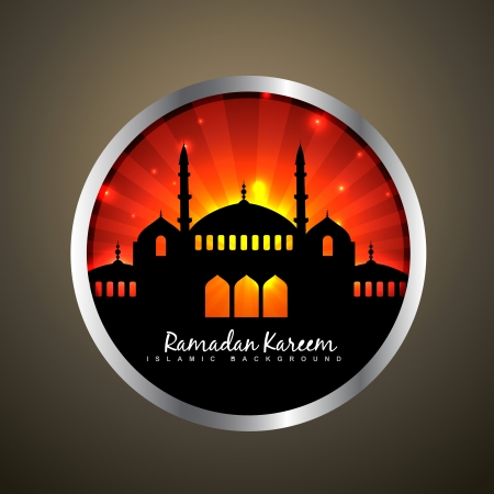 namaz: stylish vector illustration of ramadan kareem label Illustration