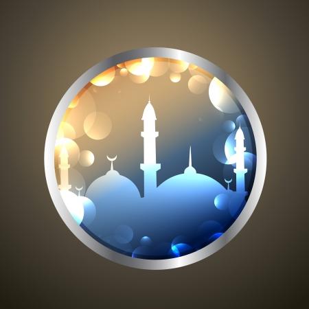 masjid: shiny ramadan kareem label design