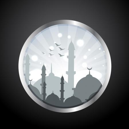muslim celebration: stylish islamic mosque label vector