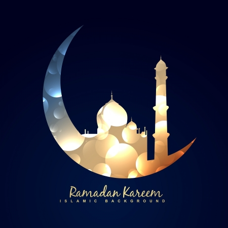 vector illustration of moon with mosque Vectores