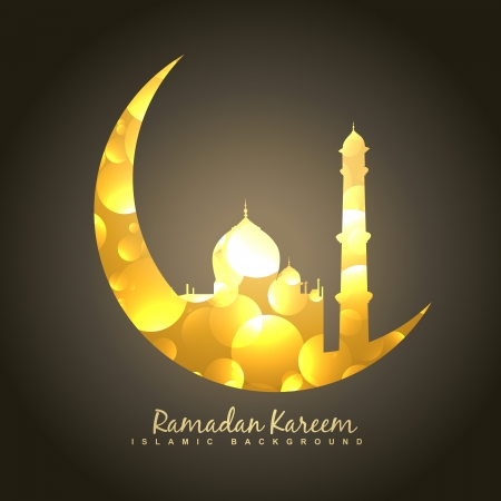 vector golden design of moon and mosque 向量圖像