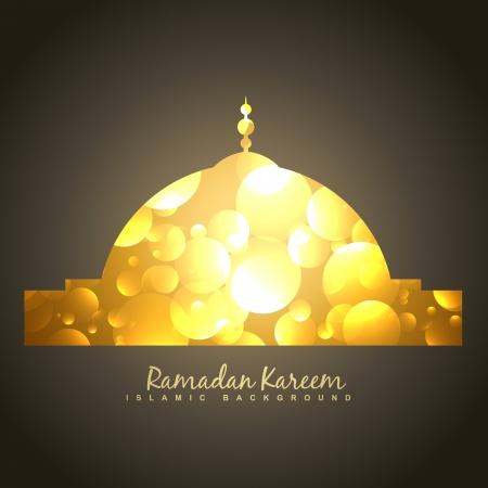 ramzaan: beautiful golden islamic mosque vector background