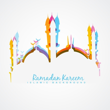 beautiful colorful ramadan kareem illustration 向量圖像