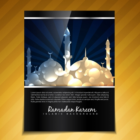 namaz: vector shiny ramadan kareem festival brochure design Illustration