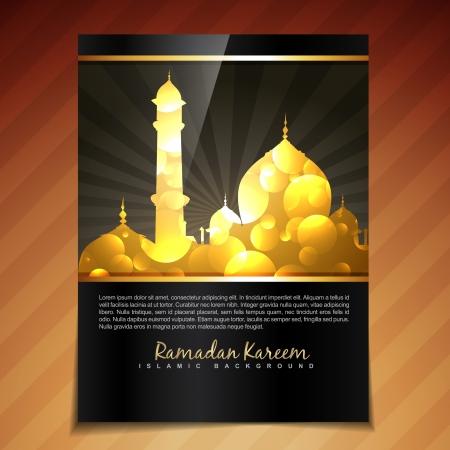 ramzaan: vector shiny golden style muslim festival template