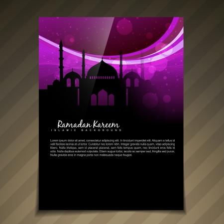 ベクトル暗いイスラム背景テンプレート デザイン