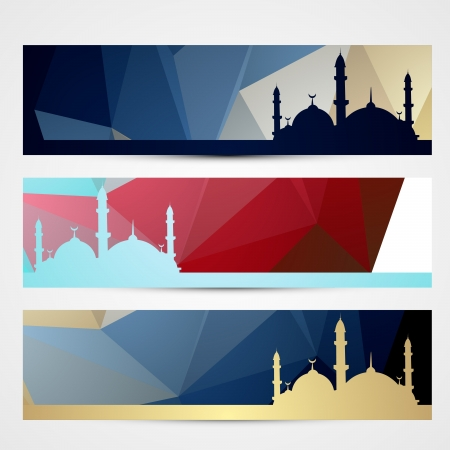 stylish set of ramadan and eid headers Vector