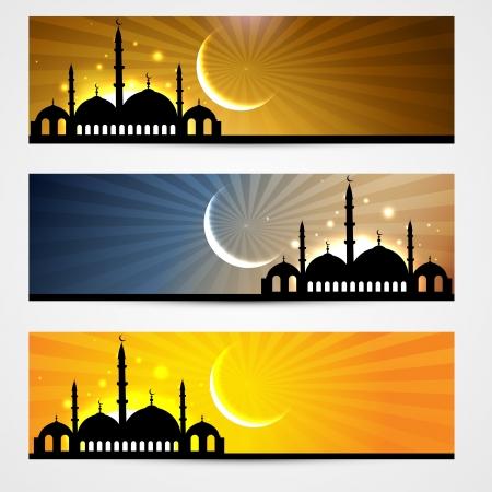 muslim celebration: stylish set of ramadan and eid headers Illustration