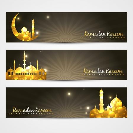 ramzaan: vector set of ramadan kareem and eid headers
