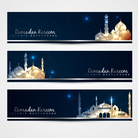 stylish set of ramadan and eid banners