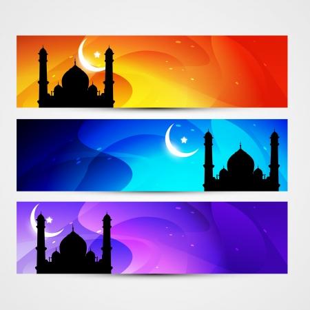 ramzaan: beautiful colorful set of ramadan kareem and eid headers