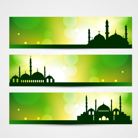 namaz: beautiful banners of ramadan kareem and eid