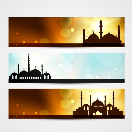 namaz: set of ramadan and eid headers with mosque