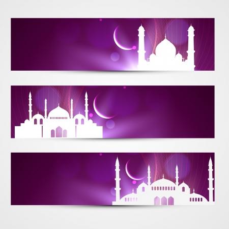 ramzaan: stylish purple color eid headers Illustration