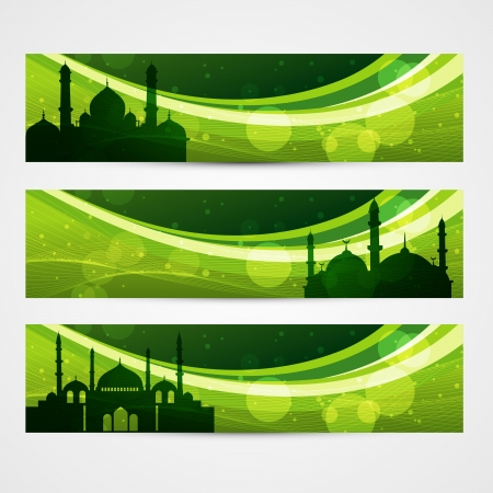 beautiful set of ramadan and eid banners Vector