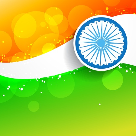 aug: wave style indian flag Illustration