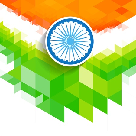 creative indian flag wave style background Vector