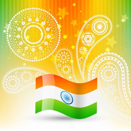 テキストのスペースを持つインドのスタイリッシュな旗
