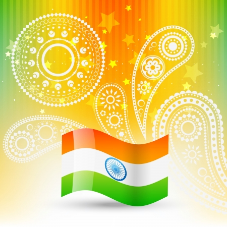 asian culture: stylish flag of india with space for your text