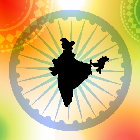 bharat: map of india on colorful background