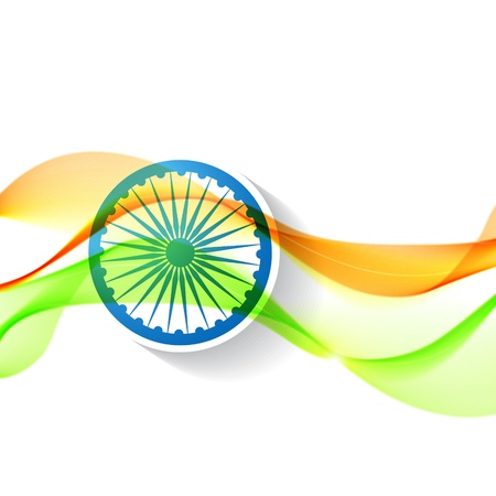 hindustan: beautiful wave style indian flag design