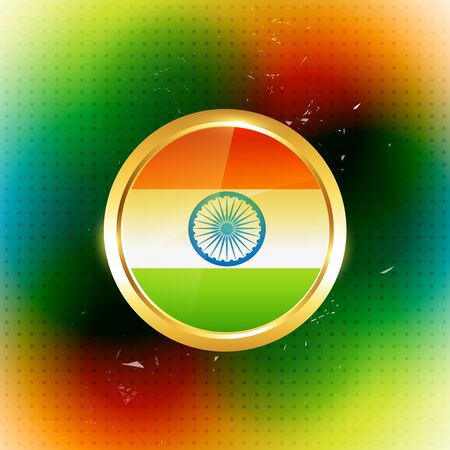 golden style indian flag label Vector