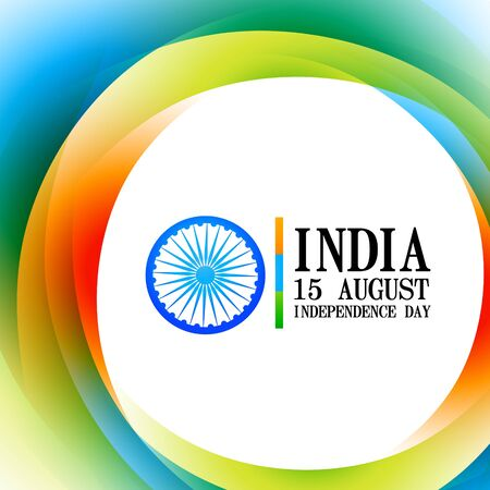15 august: colorful wave style indian flag design