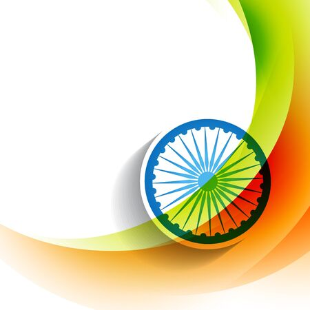 stylish indian flag wave background Vector