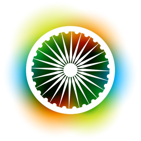 bharat: indian flag wheel on colorful background Illustration