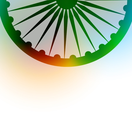 hindustan: indian flag wheel on colorful background Illustration