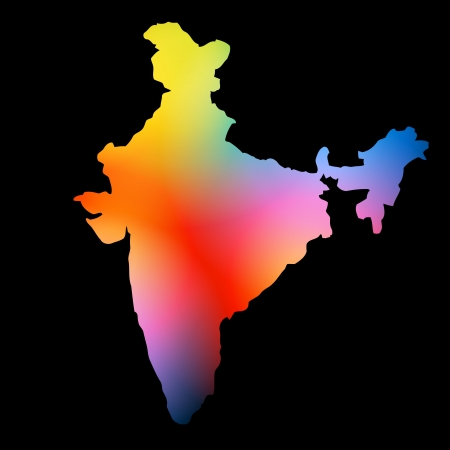 hindustan: colorful indian map design on dark background Illustration