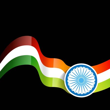 wave style indian flag background design Vector
