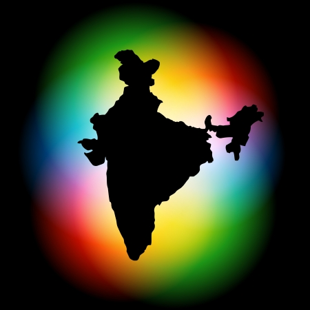 color wheel: indian map on colorful background