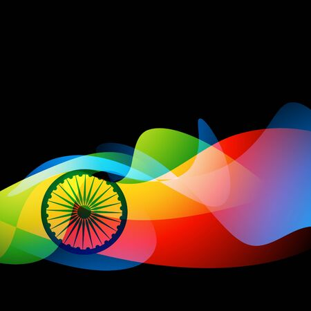 colorful dark background of indian flag wheel Vector