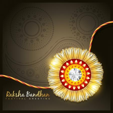 pooja: beautiful golden rakhi for indian rakshabandhan festival
