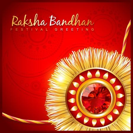 raksha bandhan: beautiful hindu festival rakhi on red background