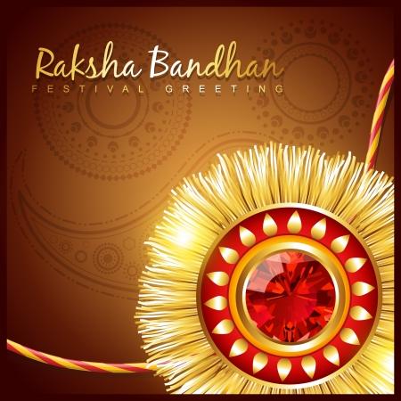 raksha: elegante vettore ind� Raksha Bandhan festival background Vettoriali