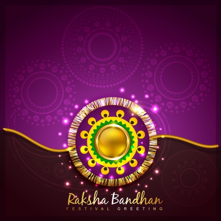 tied girl: stylish vector rakhi background with space for your text