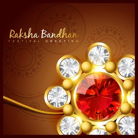 pooja: vector shiny golden rakhi background Illustration