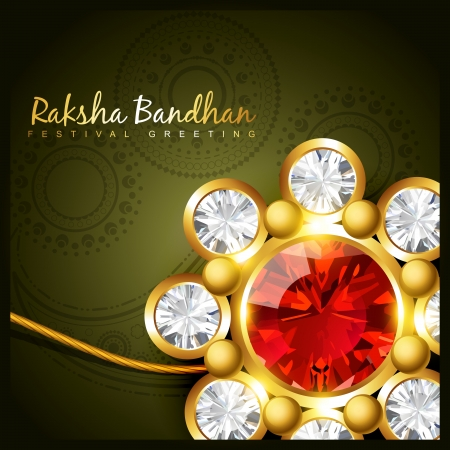 beautiful golden rakhi vector design Vector