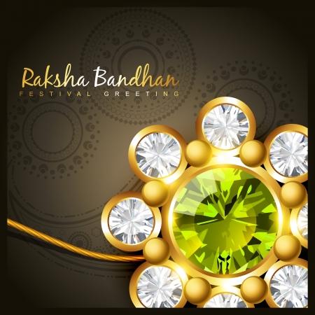 tied girl: beautiful golden rakhi for indian rakshabandhan festival