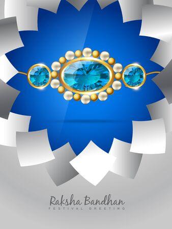tied girl: vector blue rakhi on stylish background Illustration