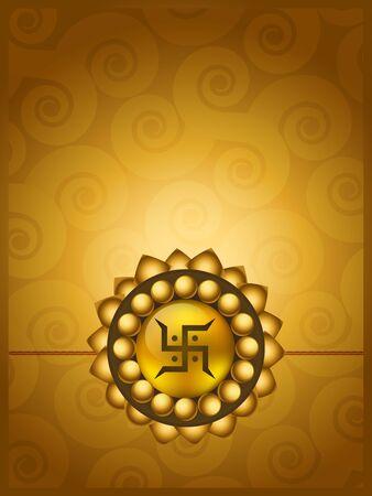 pooja: beautiful golden rakhi vector design Illustration