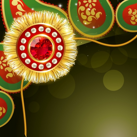 tied girl: stylish golden rakhi background with space for your text Illustration