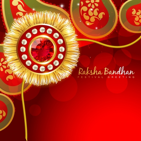 tied girl: beautiful golden rakhi with space for your text Illustration