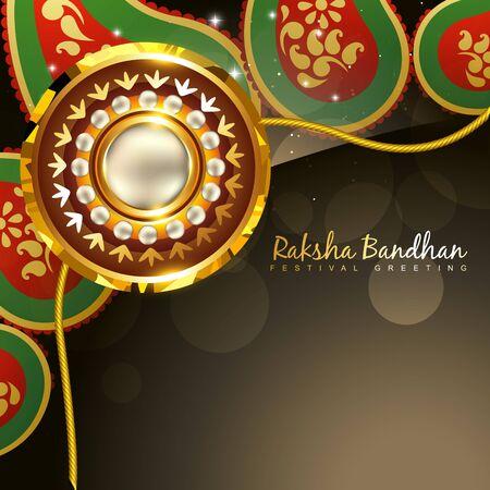 pooja: beautiful golden rakhi for hindu rakshabandhan festival Illustration