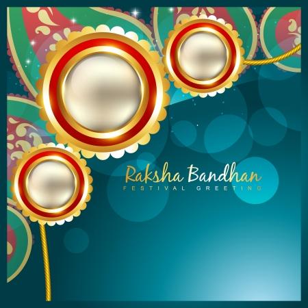 vector indian festival rakhi on stylish background Vector