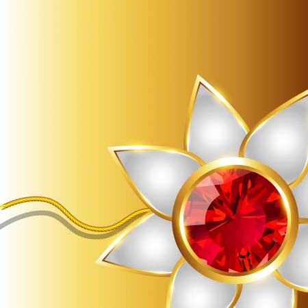 shiny golden rakhi vector background with space for your text Vector