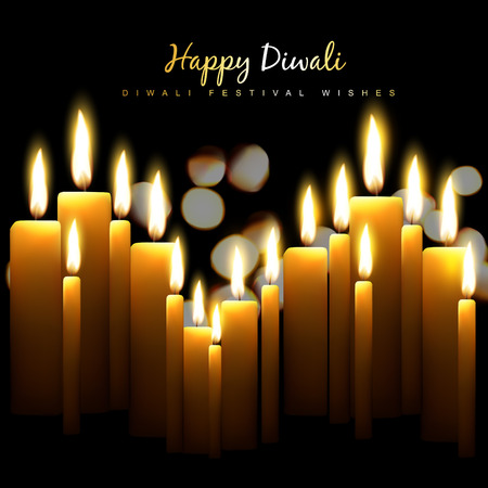 happy diwali design with candles Vector