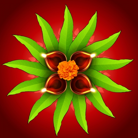 beautiful diwali design with diya and mango leaf Vector